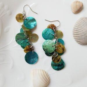 ❗SOLD❗Sea shell mother of pearl dangle earrings